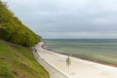 Пляж на Балтийском море на приморском городе Sellin на острове Rügen в Германии стоковая фотография