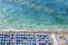 Пляж на побережье Vico Equense Амальфи Италия Стоковое Фото