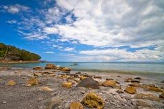 пляж новый утесистый zealand Стоковое Изображение