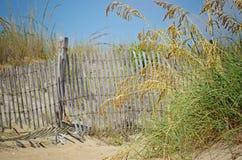 Пляж обнесет забором траву моря стоковое фото rf