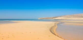Пляж песка Фуэртевентуры Sotavento Risto Стоковые Изображения
