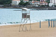 Пляж песка Saint-Jean-de Luz в Франции Стоковая Фотография RF