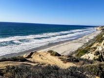 Пляж положения сосен Torrey - пляж чернокожих - Сан-Диего стоковое фото rf