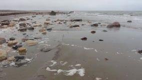 Пляж при волны ударяя утесы видеоматериал