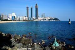 Пляж Пусана, Кореи - Haeundae и Dongbaekseom стоковая фотография rf