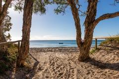 Пляж располагаясь лагерем на острове Moreton в Квинсленде Австралии стоковые изображения
