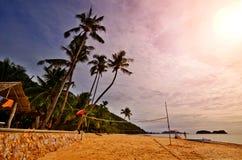 пляж резвится заход солнца Стоковое Фото