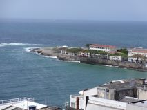 Пляж Рио-де-Жанейро сверху и форт Copacabana стоковая фотография