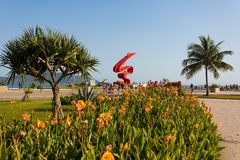 Пляж Сантоса, Бразилия Стоковое Фото