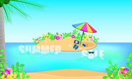 Пляж сезона продажи лета чувствуйте свежий с праздником моря голубого иллюстрация штока
