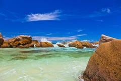 пляж Сейшельские островы тропические Стоковые Фотографии RF