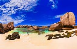 пляж Сейшельские островы тропические Стоковая Фотография