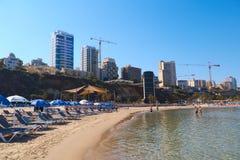 Пляж Средиземного моря в Нетанье, Израиле Стоковая Фотография RF