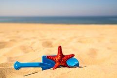 Пляж с ребенк забавляется лопаткоулавливатель, ведро и звезда Красного Моря Стоковые Фото