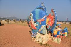 Пляж туристов в Индии стоковые изображения