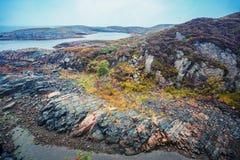 пляж утесистый Красивая глушь Норвегии стоковая фотография rf