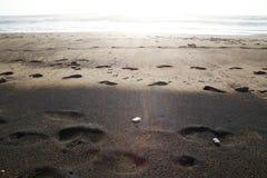 Пляж Черный и коричневый песок Стоковое Изображение