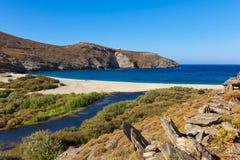 Пляж Achla, Andros, Греция Стоковое Фото