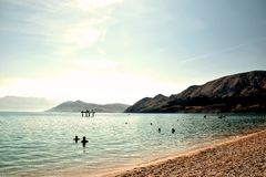 Пляж Baska, Хорватия стоковое фото rf