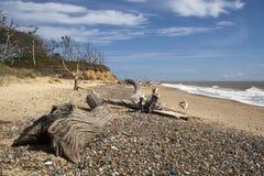 Пляж Benacre, суффольк, Англия Стоковое Фото