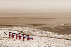 пляж benches красная зима взгляда Стоковое фото RF