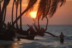 пляж caribbean над заходом солнца Стоковые Фотографии RF