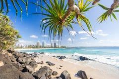 Пляж Coolangatta на ясный день смотря к пляжу Kirra на Gold Coast стоковая фотография