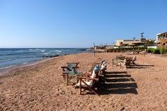 Пляж Dahab на Красном Море, Синай стоковые фотографии rf
