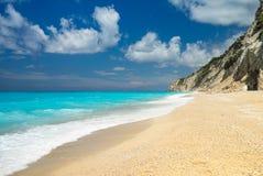 Пляж Egremni на лефкас, Ionion море, Греции Стоковое фото RF