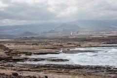 Пляж El Medano Тенерифе, Испания Стоковое Изображение RF