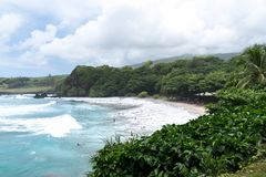 Пляж Hamoa, Гана, Мауи, Гаваи - рай нашел стоковая фотография