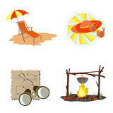 пляж hiking символы Стоковые Изображения RF