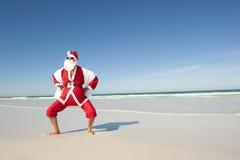 Пляж IV праздника рождества Santa Claus Стоковое Изображение RF