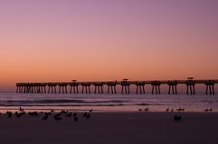 Пляж Jax на зоре Стоковые Фотографии RF