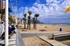 Пляж Levante, Benidorm, Испания Стоковая Фотография RF