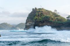 Пляж Malang Индонезия Batu Bengkung Стоковая Фотография RF