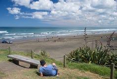 Пляж Muriwai, Новая Зеландия Стоковые Изображения RF