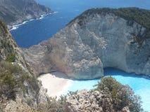 Пляж Navagio, Закинф, Греция Стоковое Изображение