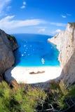 Пляж Navagio с кораблекрушением на острове Закинфа в Греции стоковые фото