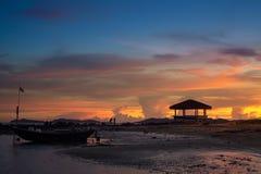 Пляж Pala когда заход солнца стоковые фотографии rf