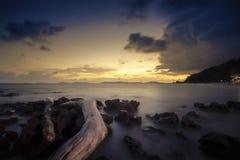 Пляж Pala когда заход солнца стоковая фотография