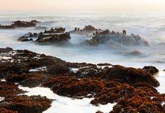 Пляж Pebble Beach или государства полости фасоли, Pescadero, CA стоковые фото