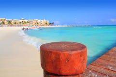 Пляж Playa del Кармен Мексики майяский Ривьера Стоковые Изображения