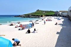Пляж Porthmeor, St Ives, Корнуолл, Великобритания стоковое изображение rf