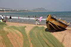 Пляж Rishikonda в Vishakhpatnam стоковое фото