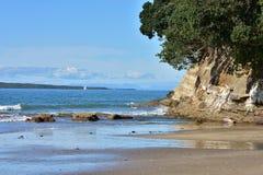 Пляж Sandy океанский с скалой на стороне Стоковые Фото