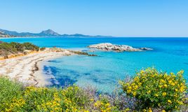 Пляж Scoglio di Peppino на солнечный день Стоковая Фотография