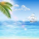 Пляж Seascape на летний отпуск бесплатная иллюстрация