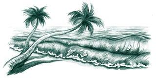 пляж tropcal иллюстрация штока