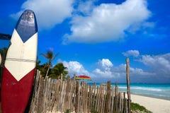 Пляж Tulum карибский в Майя Ривьеры Стоковые Фотографии RF